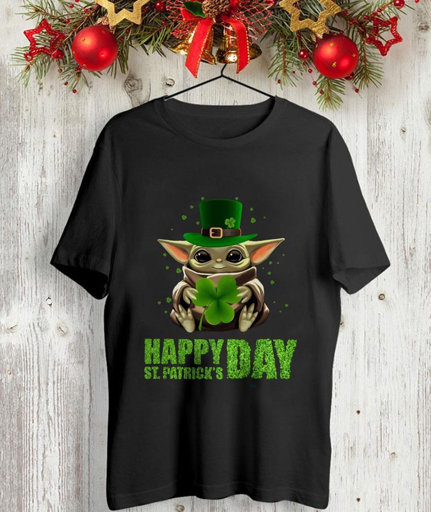 Baby Yoda hugs Shamrock Patrick day unisex-shirt