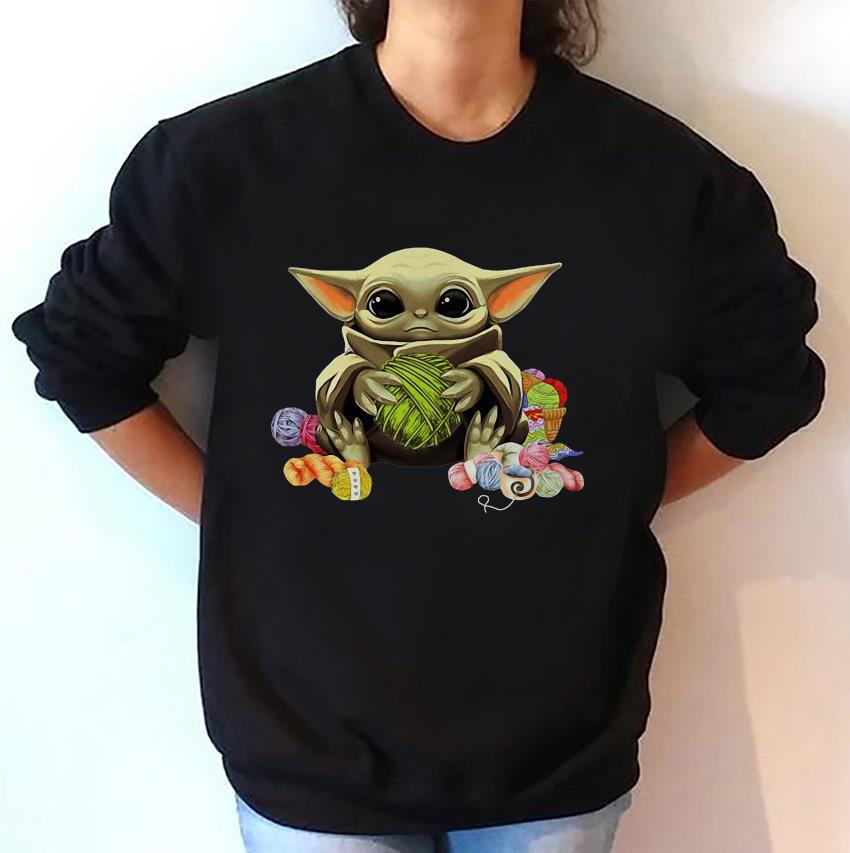 Baby Yoda knitting yarn unisex sweatshirt