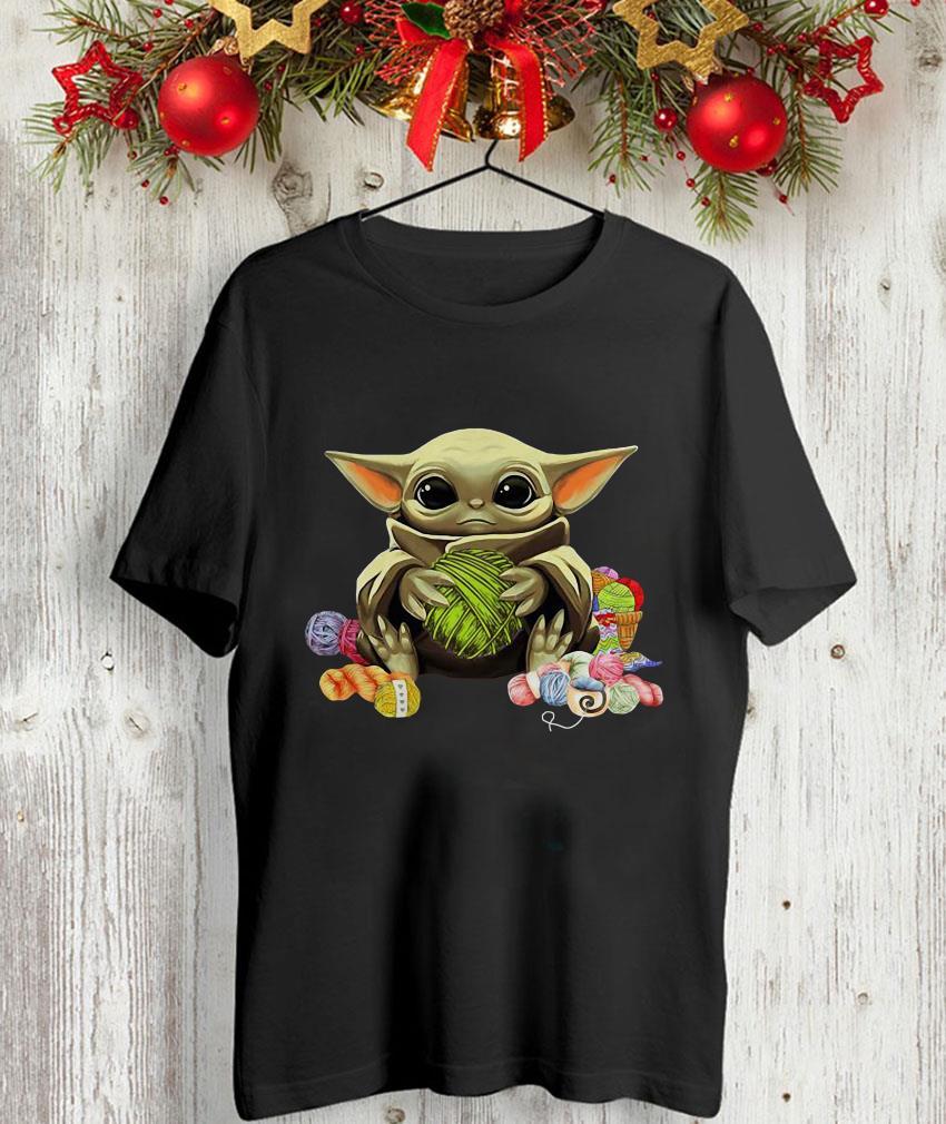 Baby Yoda knitting yarn unisex t-shirt