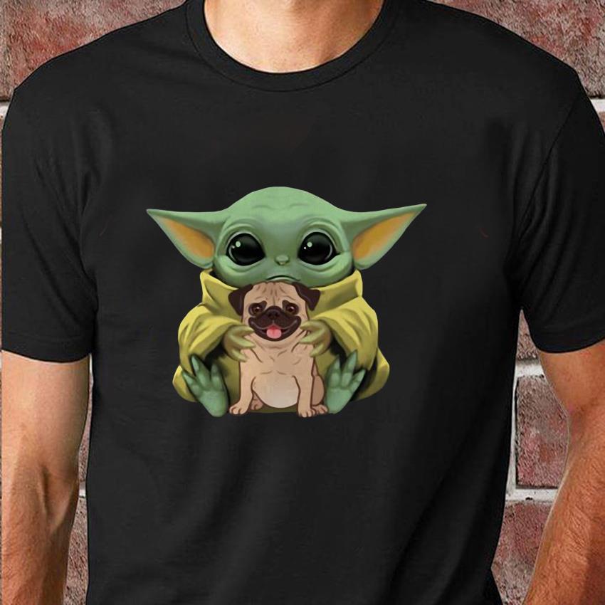 Baby Yoda Mandalorian hugs Pug dog t-shirt