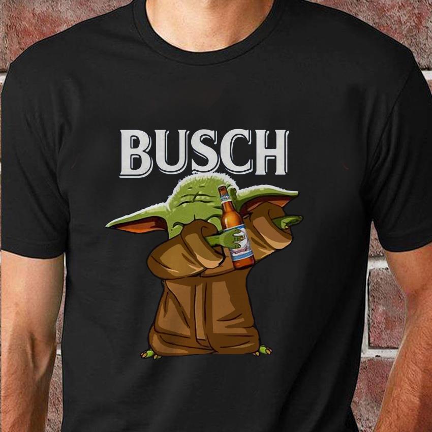 Dabbing baby Yoda loves Busch beer t-shirt