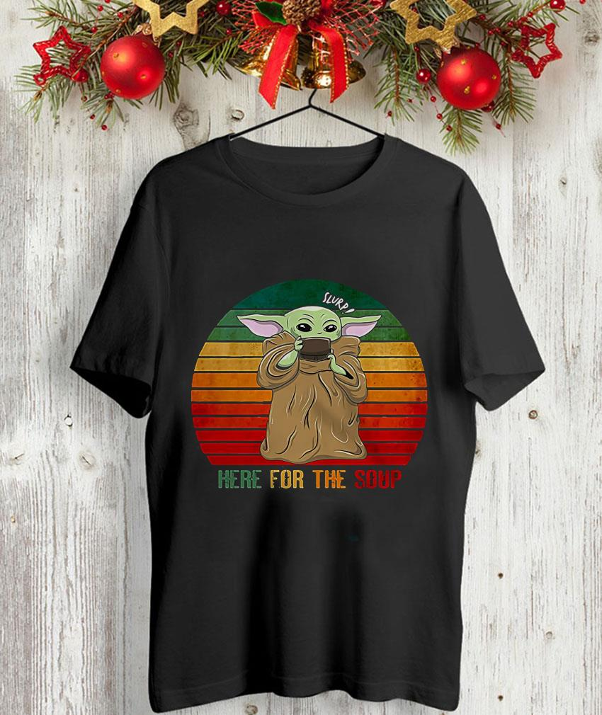 The mandalorian Baby Yoda here for the soup vintage unisex-shirt