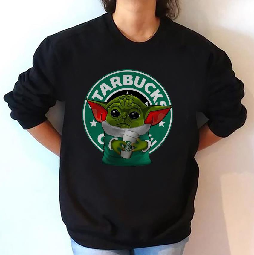 The Mandalorian Baby Yoda Starbuck coffee logo t-shirt