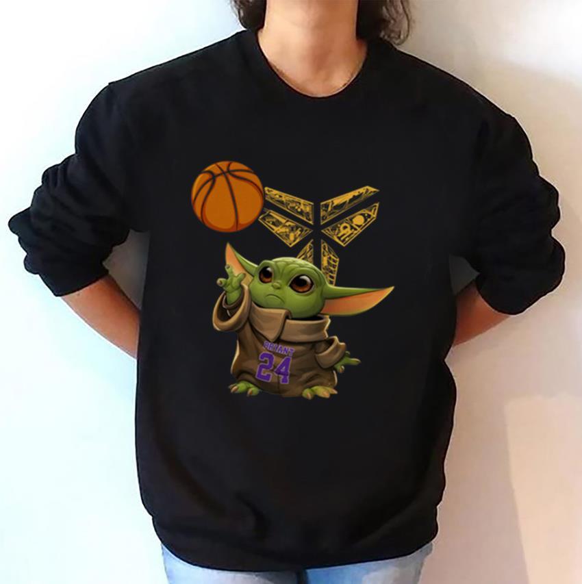 Baby Yoda 24 Kobe Bryant basketball logo t-shirt