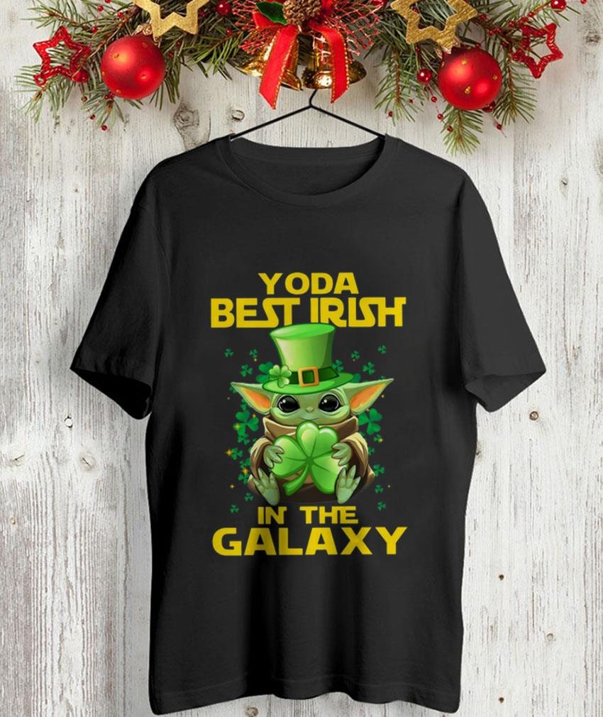 Baby Yoda best Irish in The Galaxy Shamrock leaf unisex t-shirt