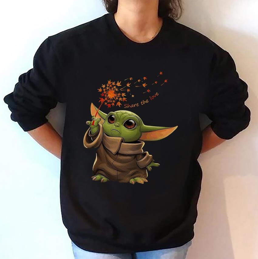 Baby Yoda hand sign share the love sweatshirt