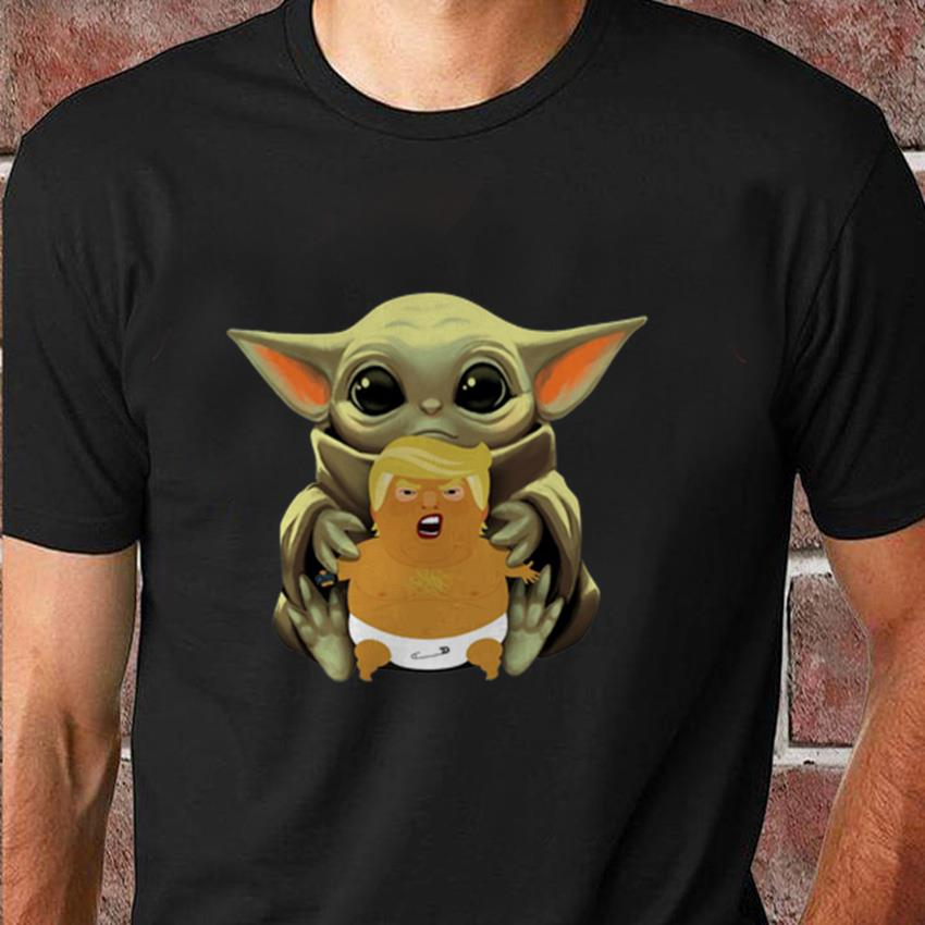 Baby Yoda hugs baby Trump balloon t-shirt