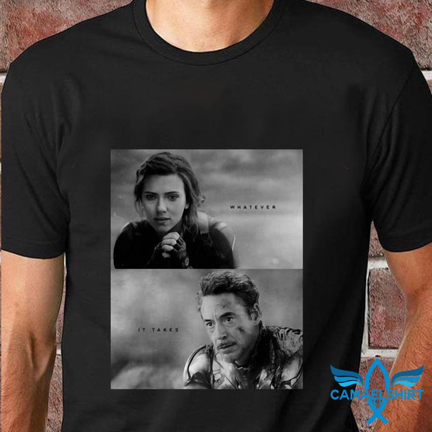 Black Widow and Iron Man whatever it takes Avenger Endgame t-shirt
