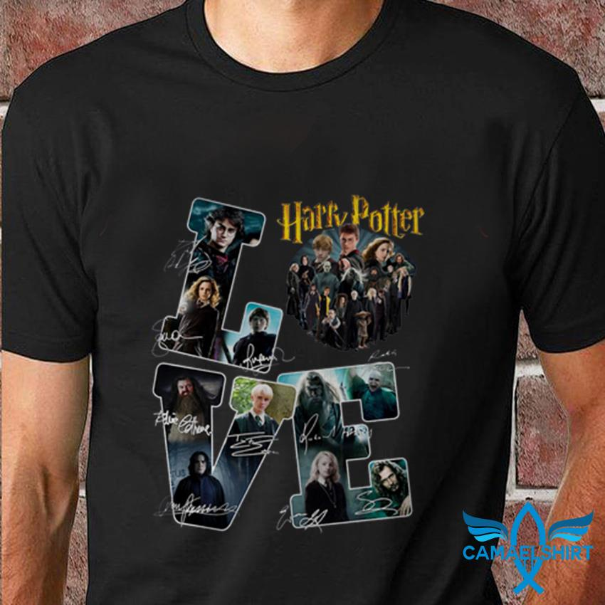 Love Harry Potter all characters signatures t-shirt