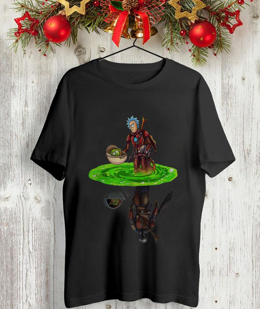 The Mandalorian Rich and Baby Yoda water reflection t-shirt
