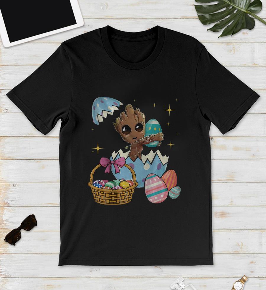 Happy Groot Easter egg basket unisex shirt