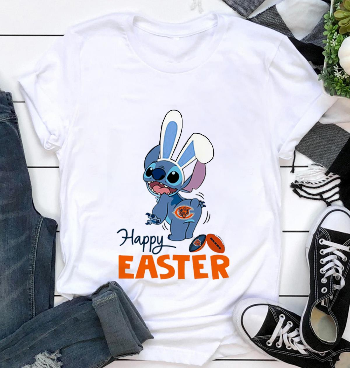 Bunny Stitch Chicago Bears happy Easter t shirt