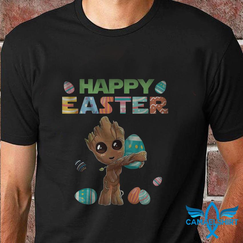 Happy easter baby Groot hug egg hunter t shirt