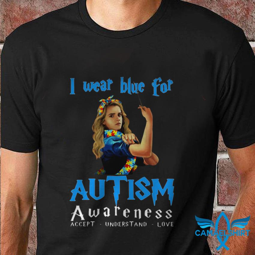 Hermione I wear blue for Autism awareness Harry Potter t shirt