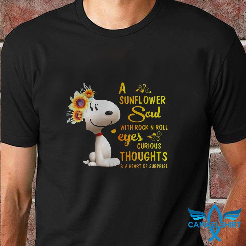 Snoopy a sunflower soul with rock in roll eyes curious thoughts t shirt