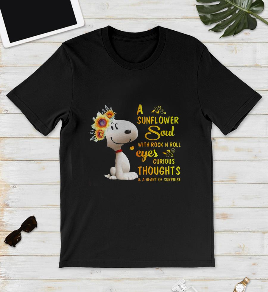 Snoopy a sunflower soul with rock in roll eyes curious thoughts unisex shirt