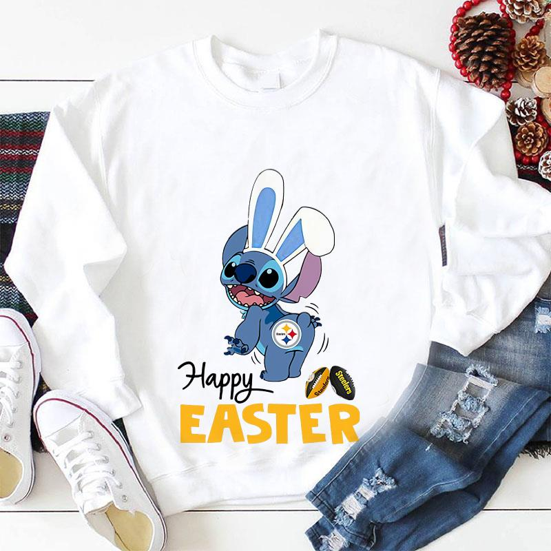 Stitch bunny Pittsburgh Steelers happy Easter longsleeve shirt