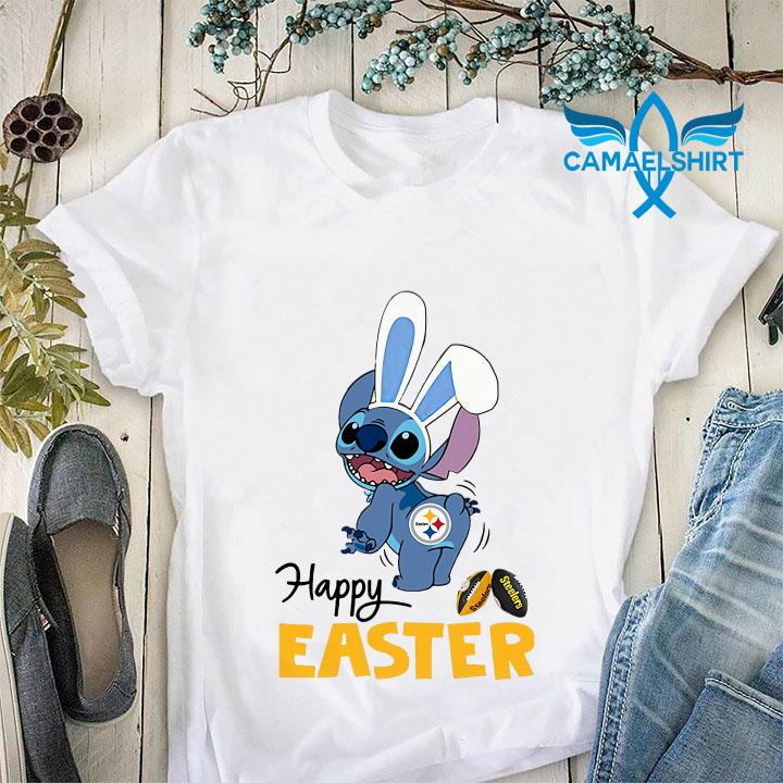 Stitch bunny Pittsburgh Steelers happy Easter unisex shirt