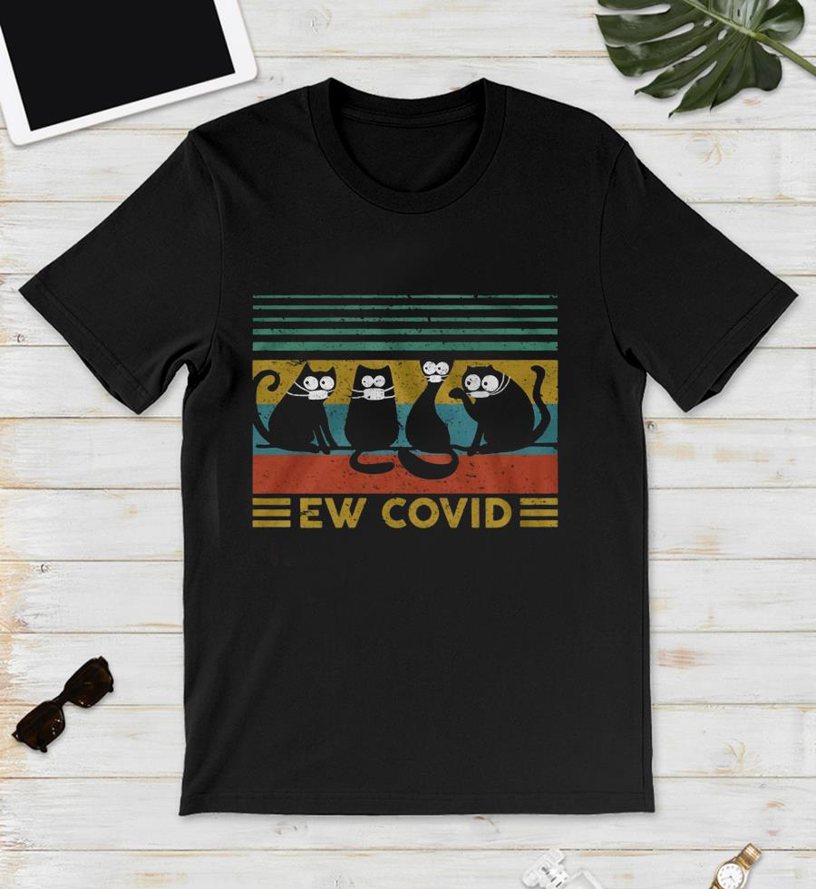 Cat ew covid vintage quarantine unisex t-shirt