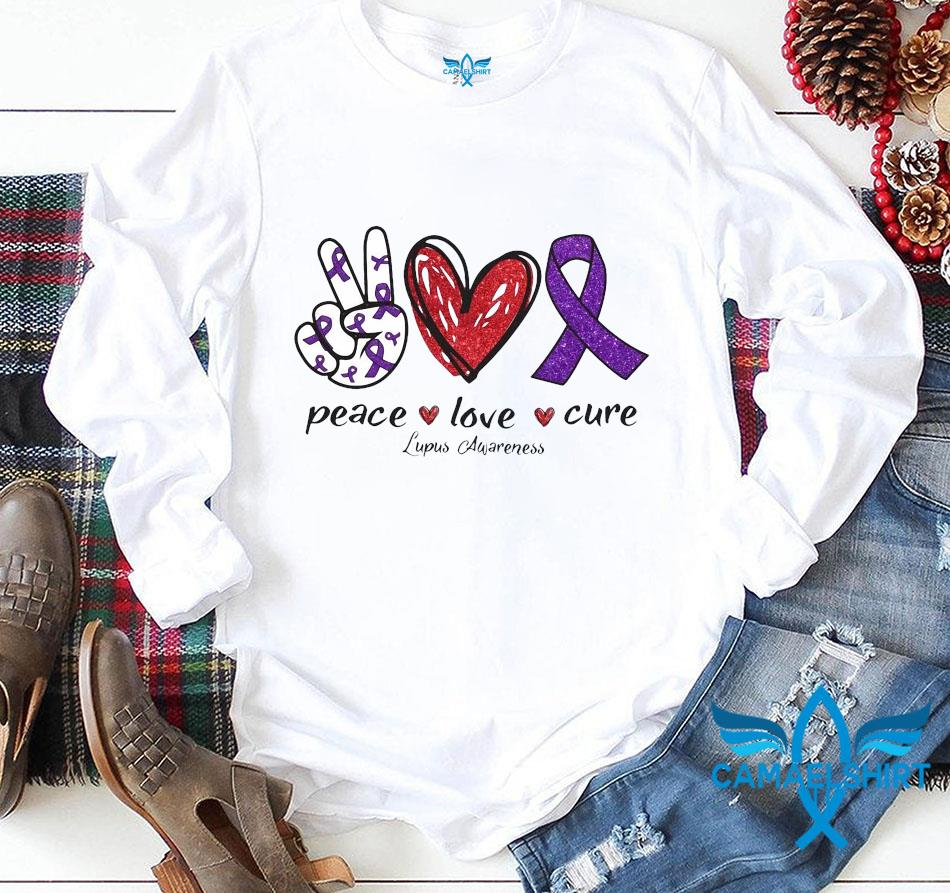 Lupus Awareness peace love cure ribbon heart hand longsleeve
