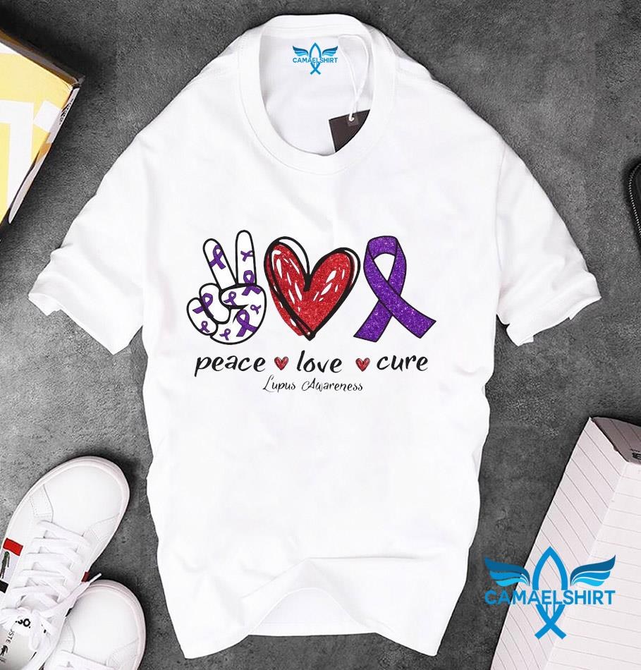 Lupus Awareness peace love cure ribbon heart hand unisex t-shirt