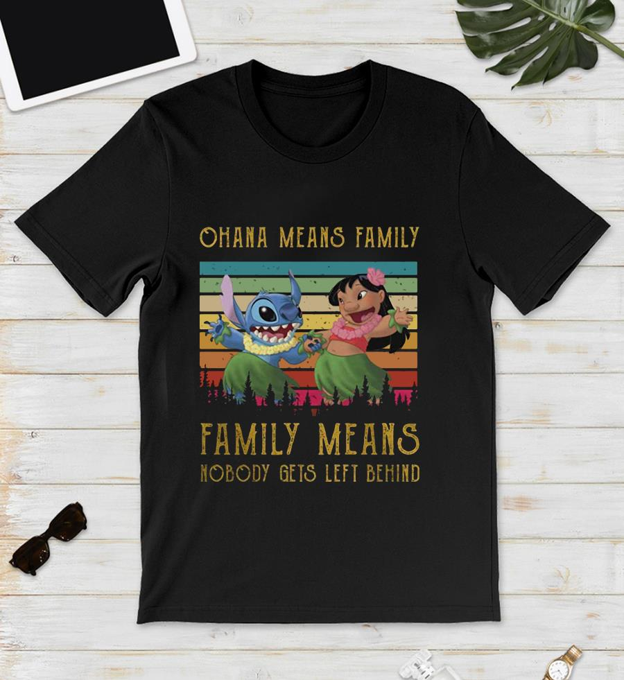 Ohana means family Stitch Lilo vintage unisex t-shirt