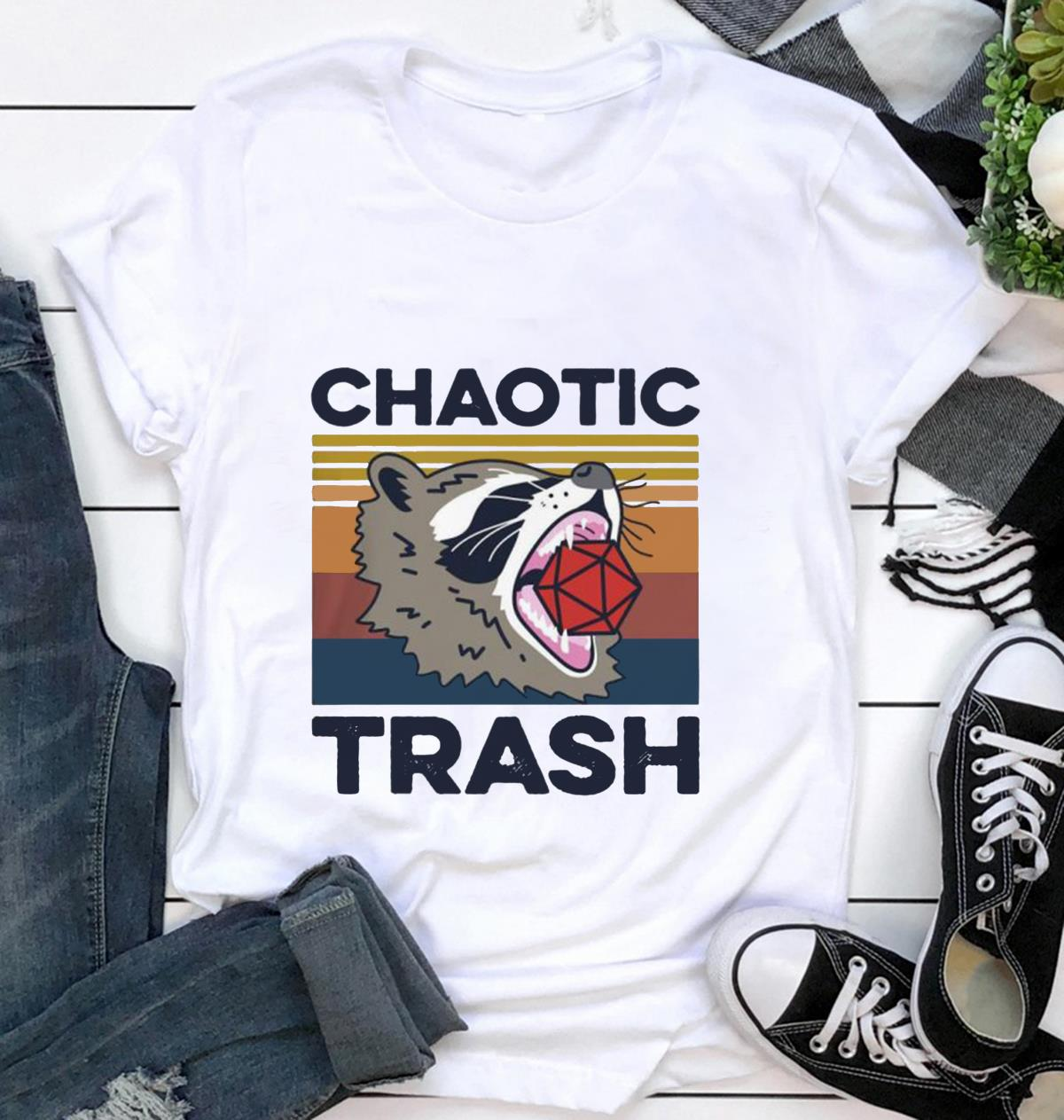 Raccoons chaotic trash retro vintage t shirt