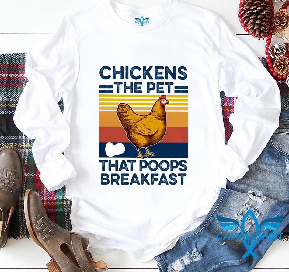 Retro Chickens the pet that poops breakfast vintage longsleeve