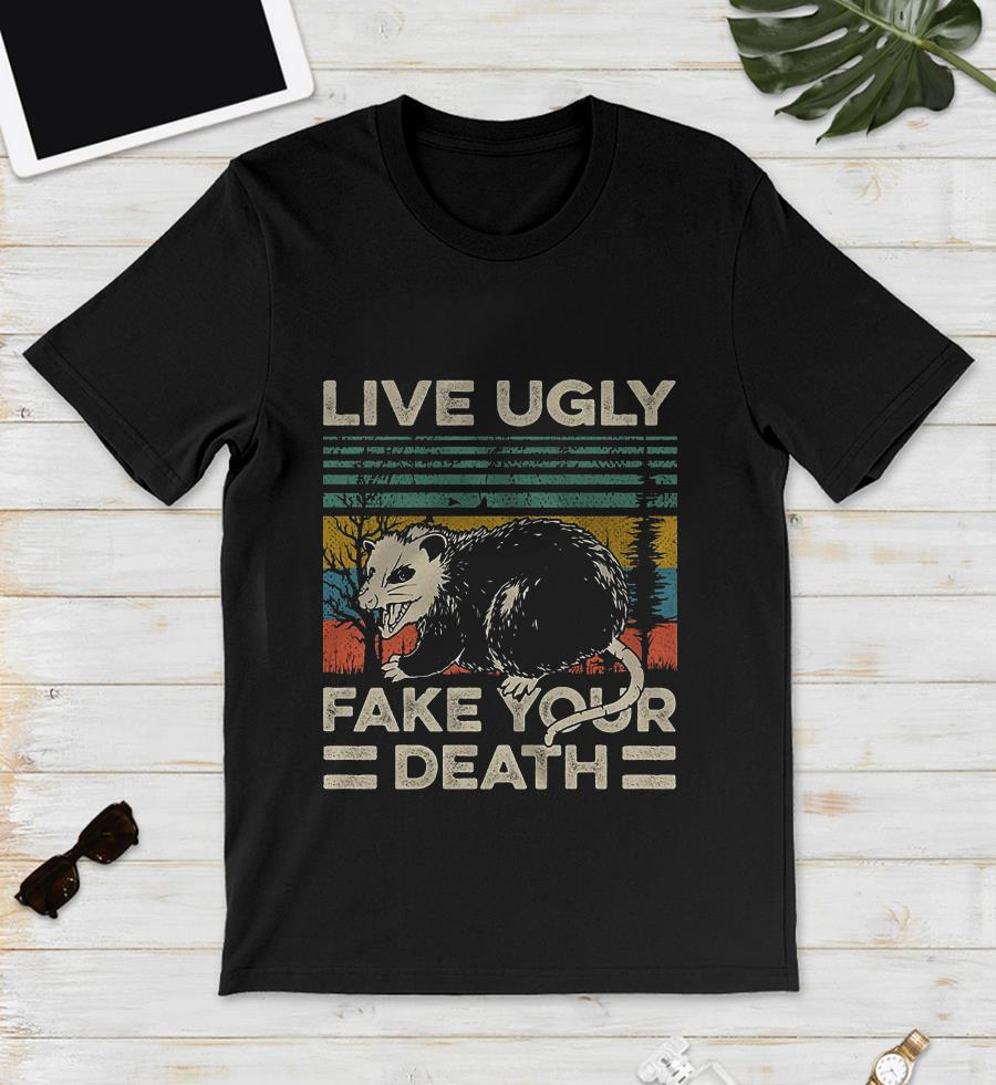 Vintage retro raccoon live ugly fake your death unisex shirt