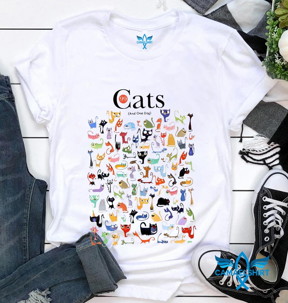 99 cats and one dog funny t-shirt