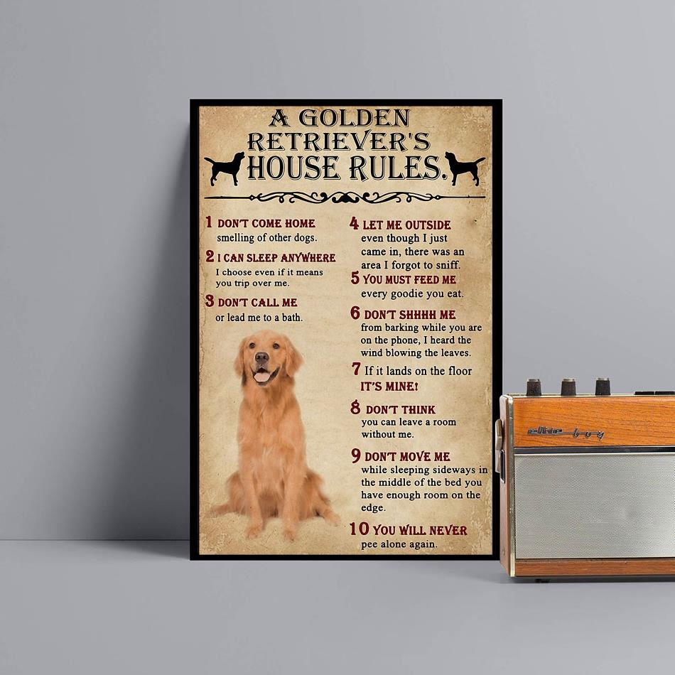 A Golden Retriever house rules poster canvas black