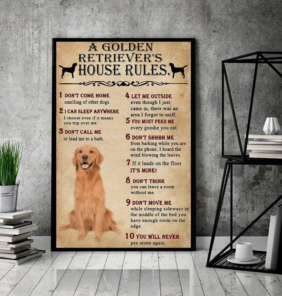 A Golden Retriever house rules poster canvas