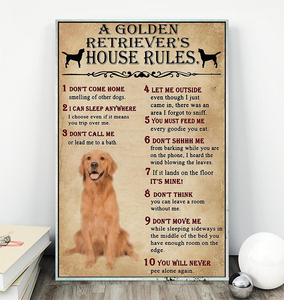 A Golden Retriever house rules poster canvas wall