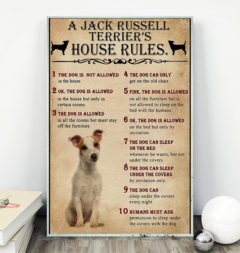 A Jack Russell Terrier house rules poster canvas wall