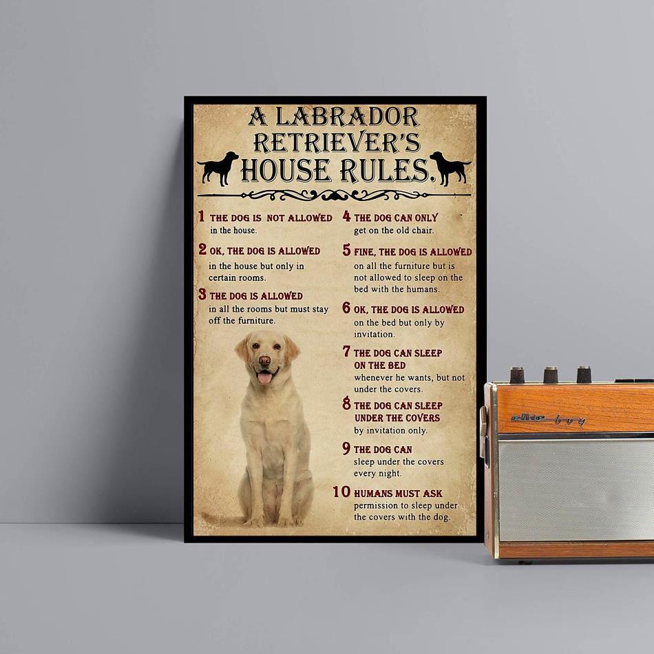 A Labrador Retriever house rules poster canvas black