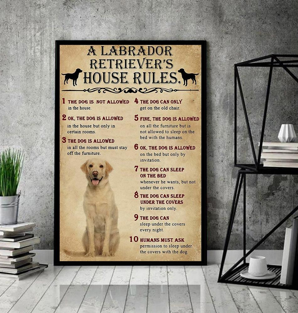 A Labrador Retriever house rules poster canvas
