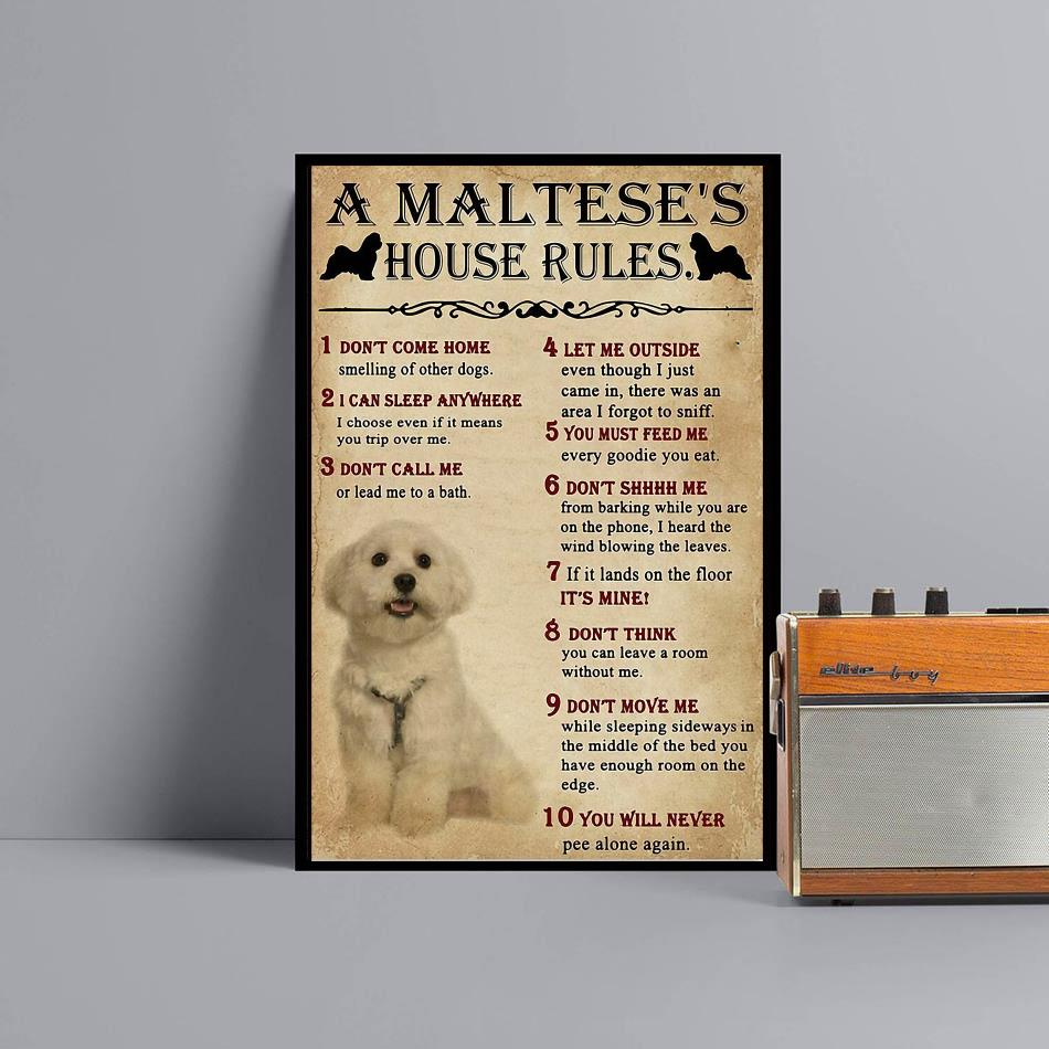 A Maltese house rules poster canvas black