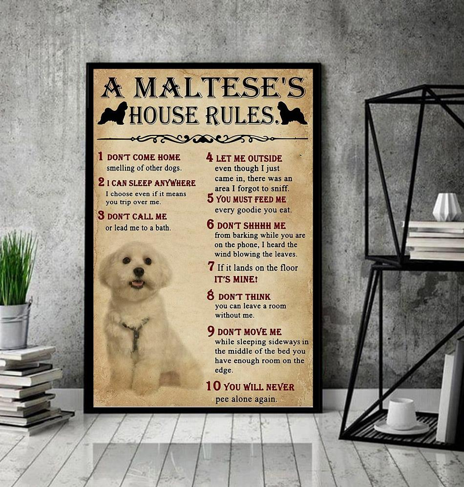 A Maltese house rules poster canvas