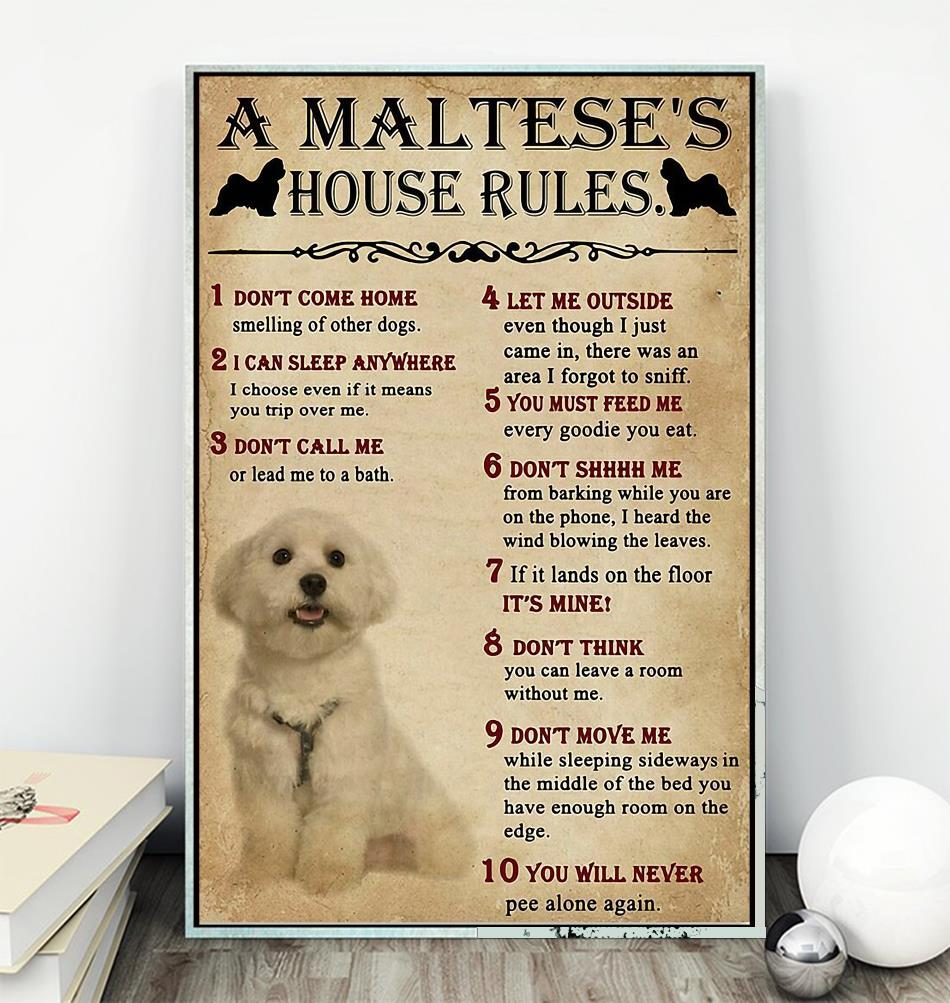 A Maltese house rules poster canvas wall