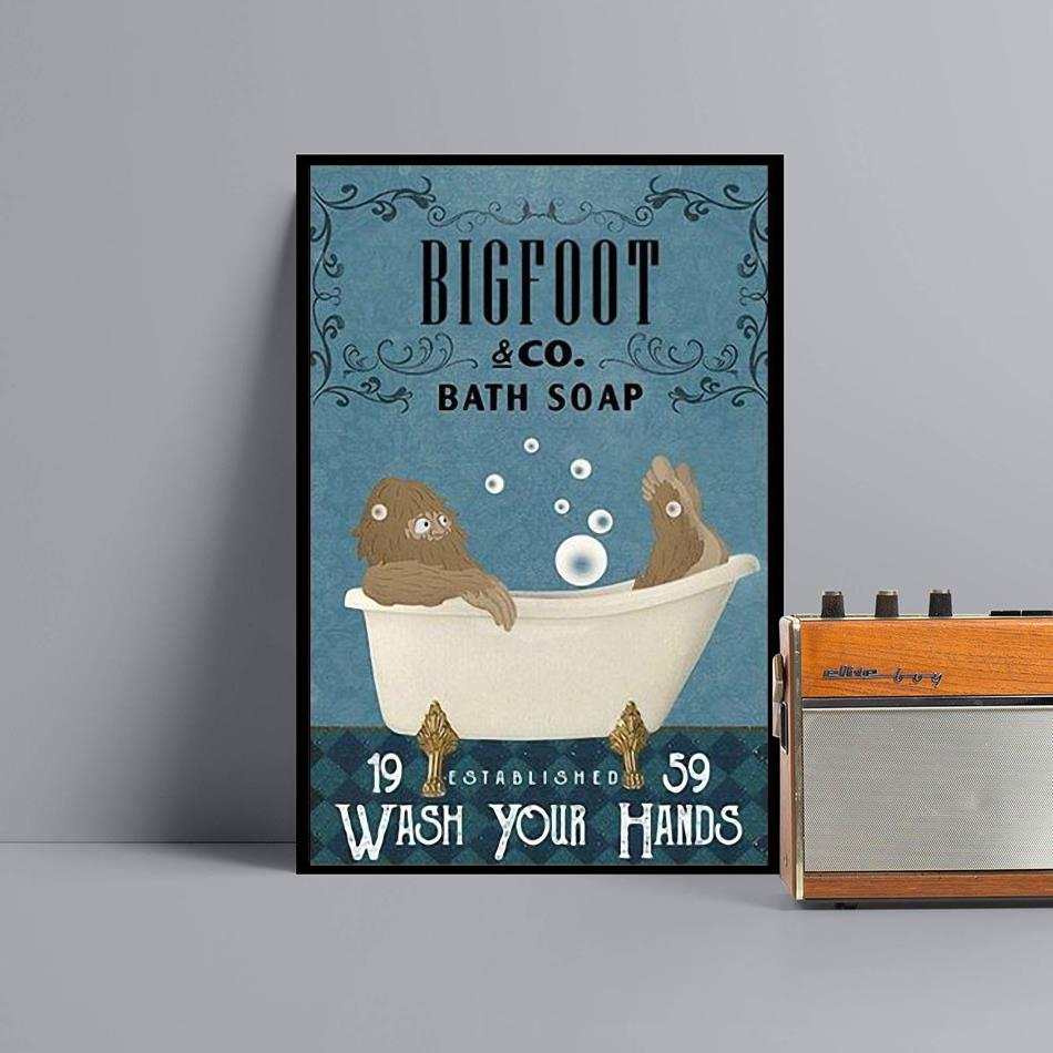 Bigfoot bath soap wash your hands poster canvas black