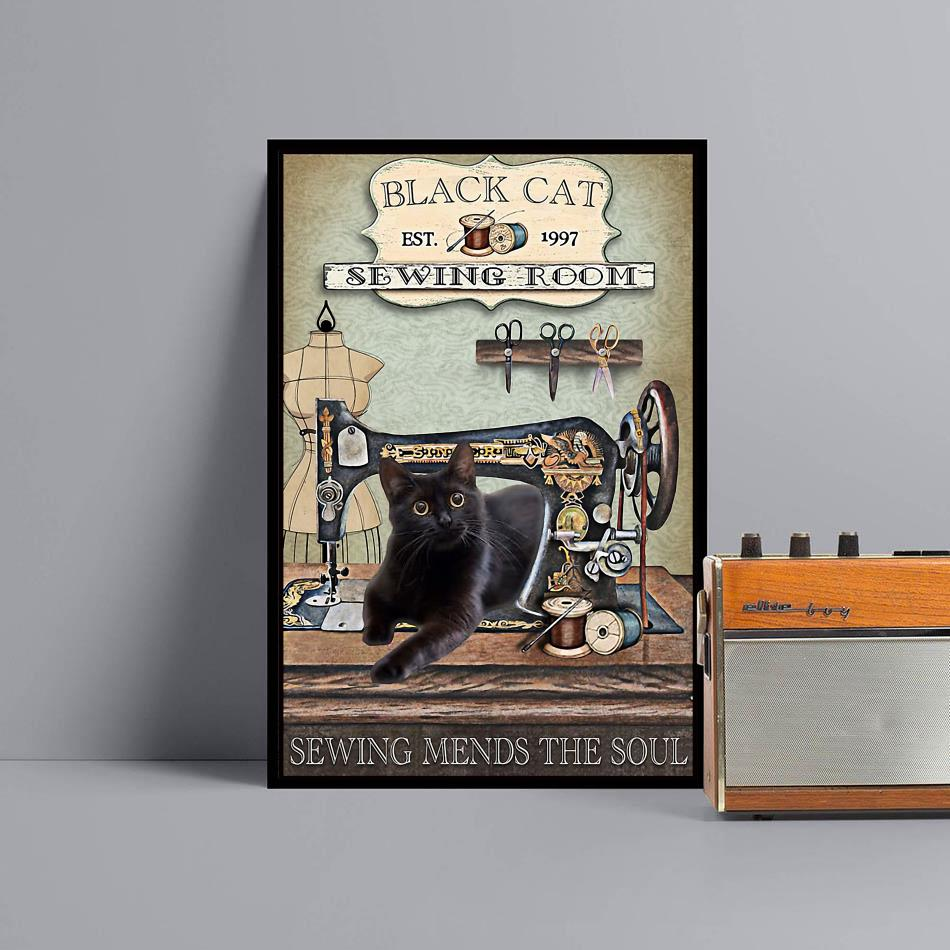 Black cat sewing room sewing mends the soul wrapped canvas black