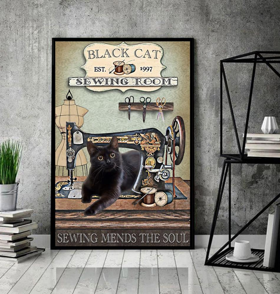 Black cat sewing room sewing mends the soul wrapped canvas