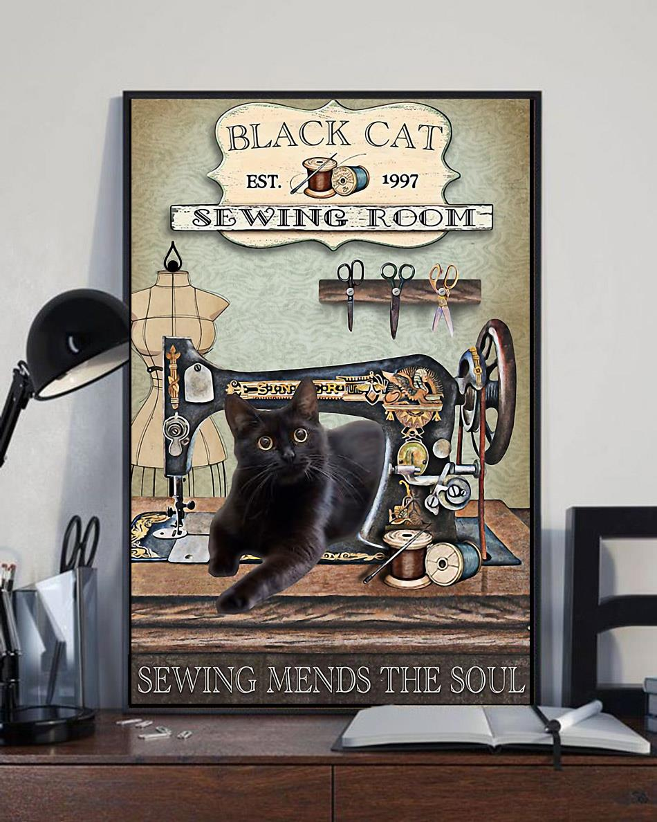 Black cat sewing room sewing mends the soul wrapped canvas full size