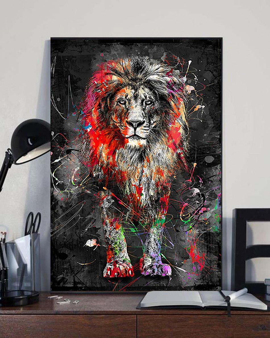Colorful lion animal abstract painting modern wall art canvas full size