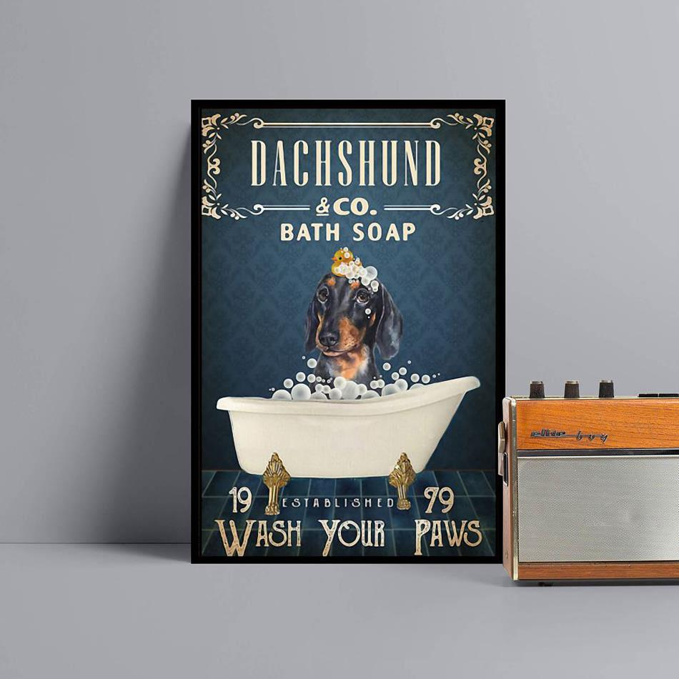 Dachshund co bath soap wash your paws wrapped canvas black