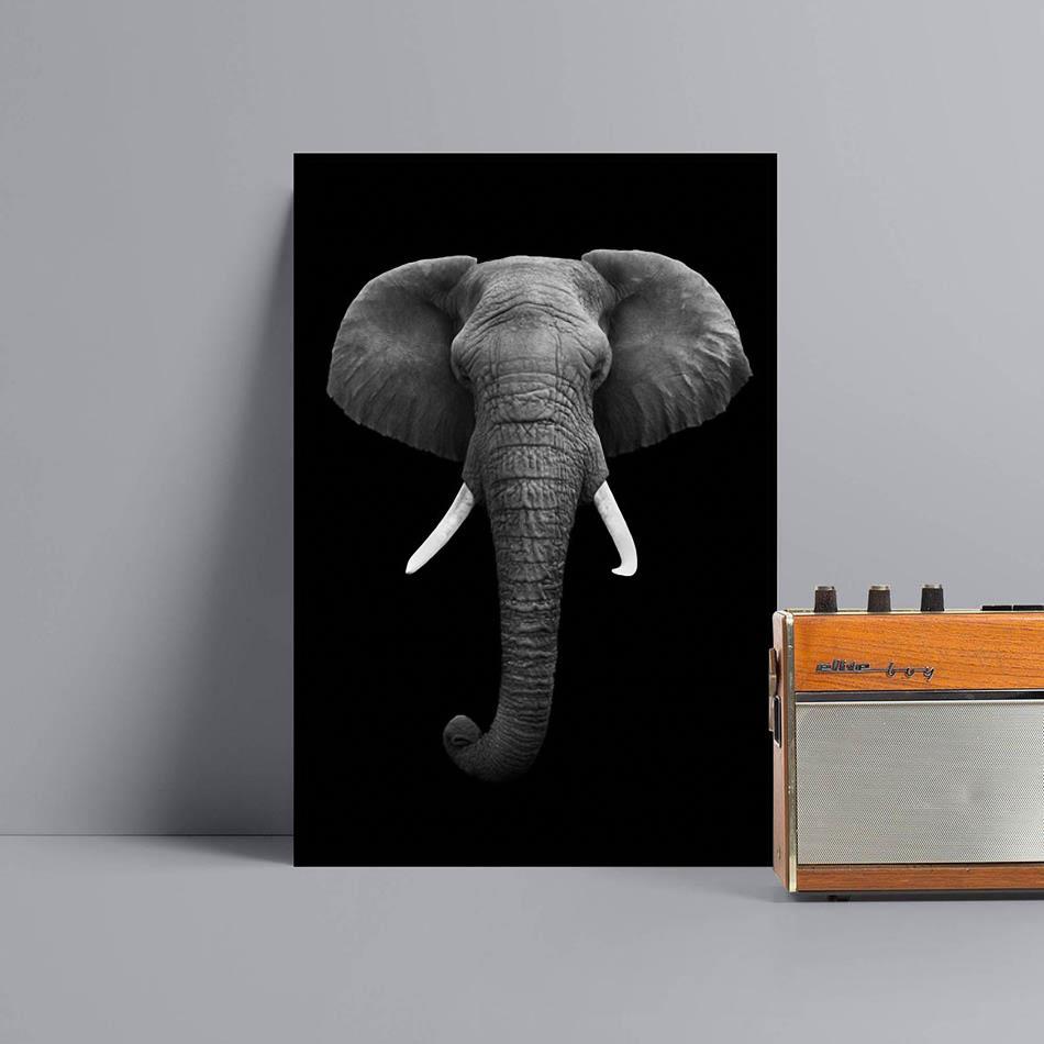 Elephant painting animal wall art Canvas black