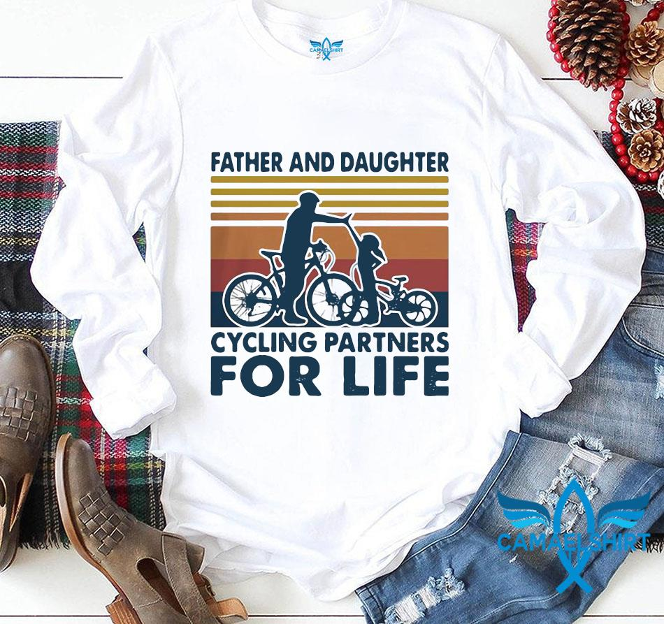 Father and daughter cycling partners for life vintage longsleeve