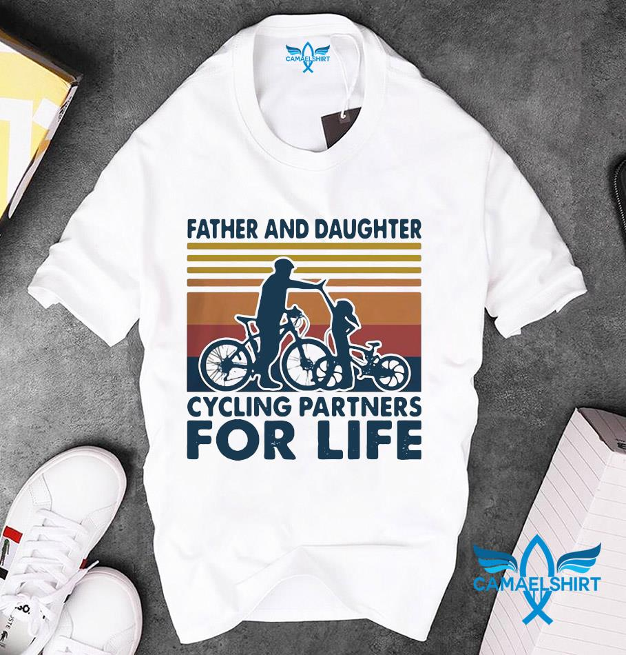Father and daughter cycling partners for life vintage unisex t-shirt