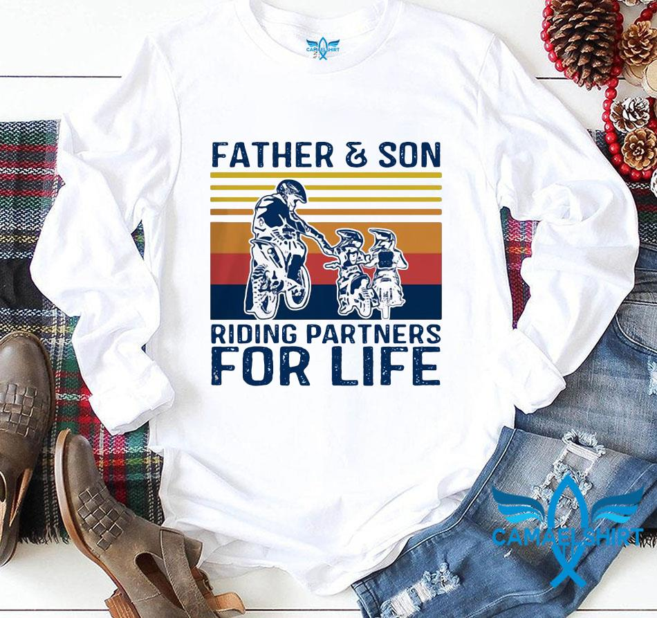 Father and son riding partners for life vintage Fathers day longsleeve