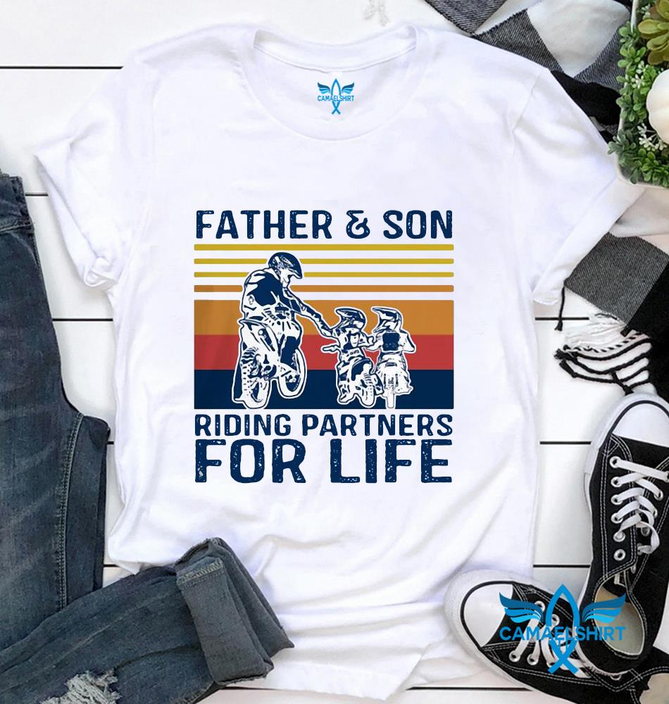 Father and son riding partners for life vintage Fathers day